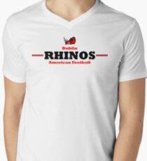 Rhinos Football - Grey/White Men's V-Neck T-Shirt