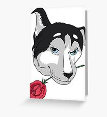 Dog with rose Greeting Card