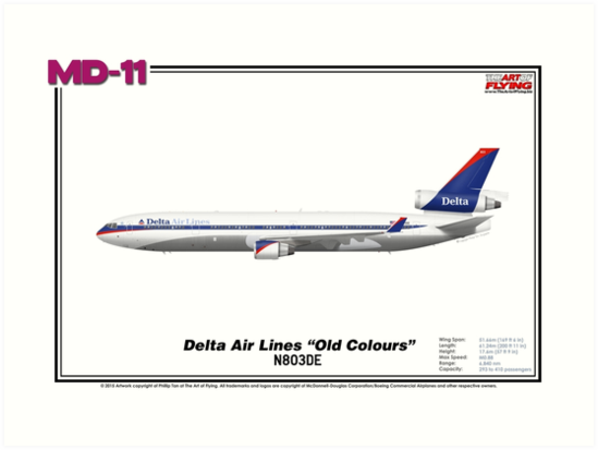 "McDonnell Douglas MD-11 - Delta Air Lines ""Old Colours"" (Art Print) by TheArtofFlying"