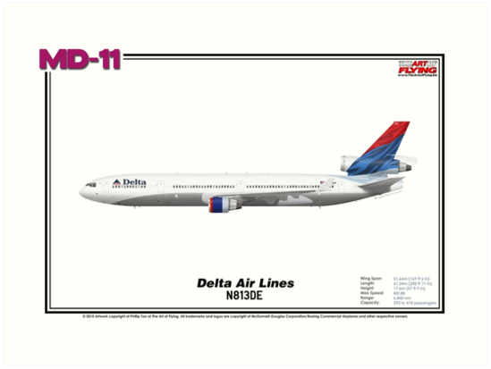 McDonnell Douglas MD-11 - Delta Air Lines (Art/Print) by TheArtofFlying