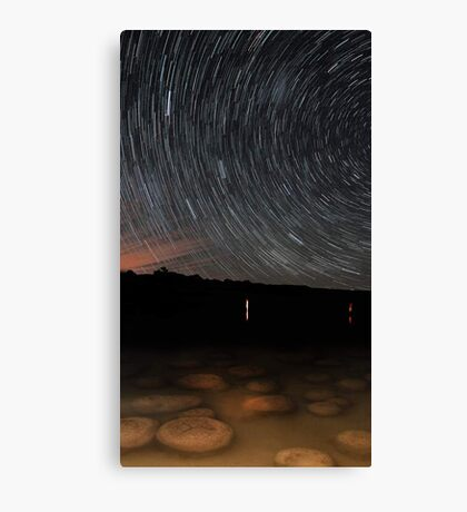 Star Trails Over Lake Clifton Thrombolites  Canvas Print