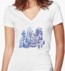 Cats in Robot Town Women's Fitted V-Neck T-Shirt