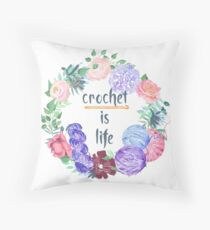 Crochet is Life Wreath of Yarn Throw Pillow