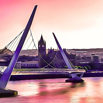 Derry / Londonderry Peace Bridge. (Painting.)  by cmphotographs