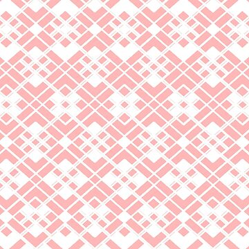 Abstract geometric pattern - pink and white. by kerens