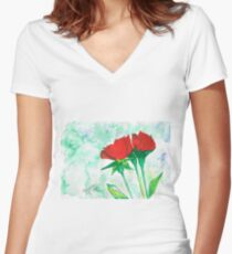 Two red roses Women's Fitted V-Neck T-Shirt
