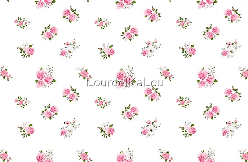 Quot Cute Vintage Rose Flower Pattern On White Background