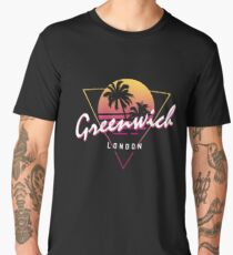 Funny 80s Retro Sunset 'Greenwich' London Men's Premium T-Shirt