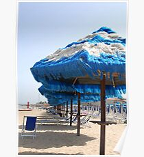 Blue and White Fringed Beach Umbrellas  Poster