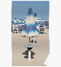 Closed Blue Beach Umbrella  Poster