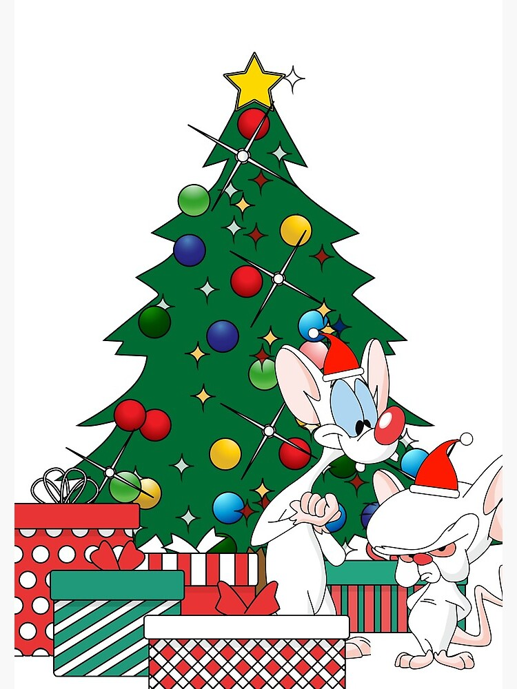 Pinky And The Brain Christmas.Pinky And The Brain Around The Christmas Tree Spiral Notebook