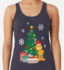 Camiseta con espalda nadadora Garfield alrededor del arbol de navidad