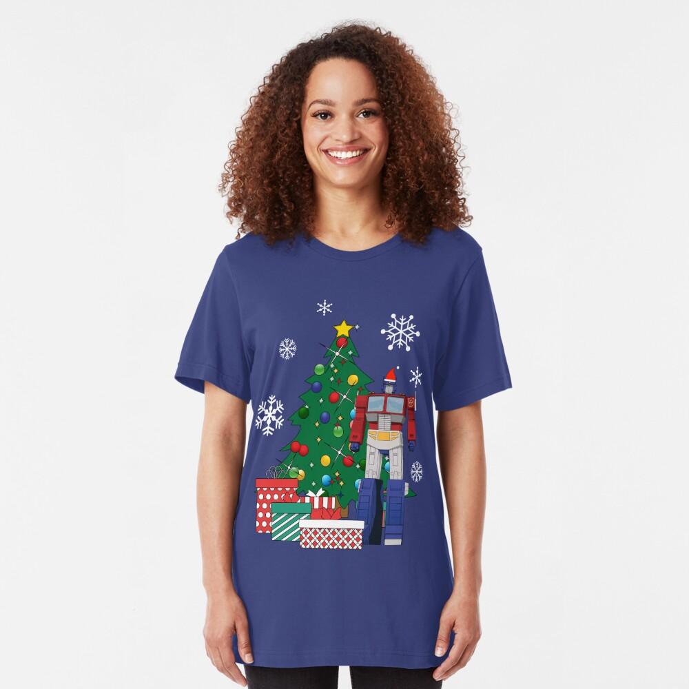 Optimus Prime Around The Christmas Tree Slim Fit T-Shirt