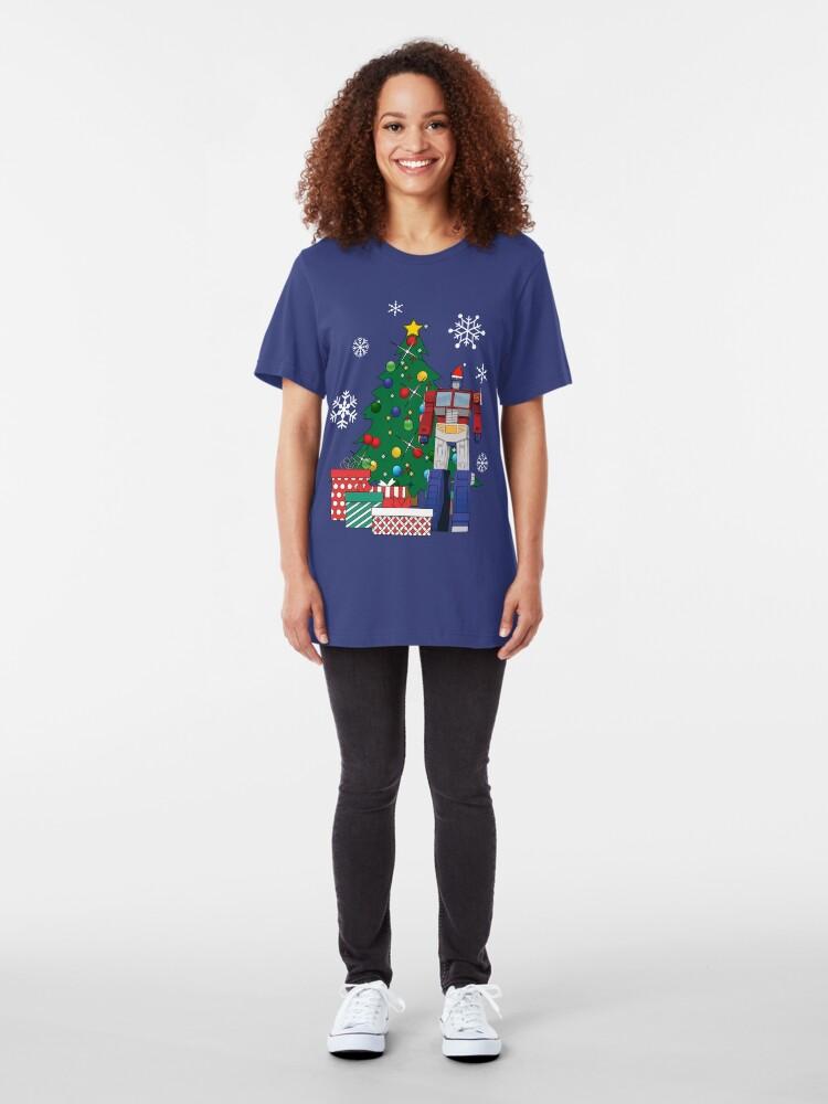 Alternate view of Optimus Prime Around The Christmas Tree Slim Fit T-Shirt