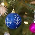 Two decorative balls on christmas tree branch. by fotorobs