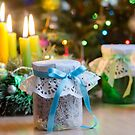 Gifts on the background of decorated spruce. by fotorobs