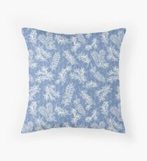 Blue and white chintz look pattern with aussie bottlebrush Throw Pillow