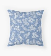 Blue and white chintz look pattern with aussie bottlebrush Floor Pillow