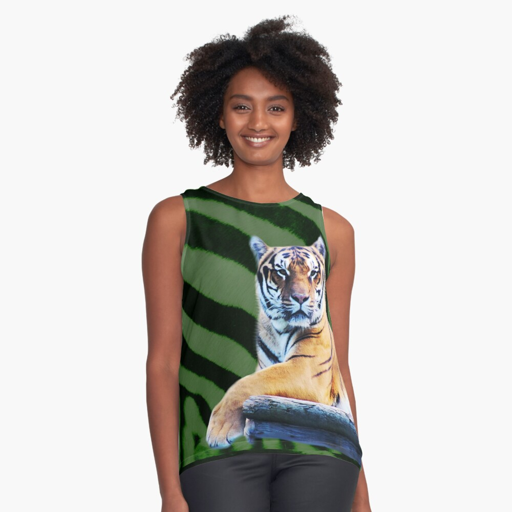 Tiger and stripes Contrast Tank Front