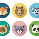 Portraits of Animals in the Flat Style by alijun