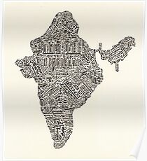 Lettering map of India Poster