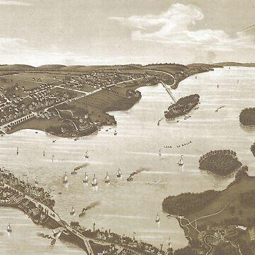 Vintage Pictorial Map of Lake Lac La Belle WI (1885) by BravuraMedia