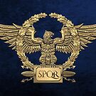 Gold Roman Imperial Eagle -  S P Q R  Special Edition over Blue Velvet by Serge Averbukh