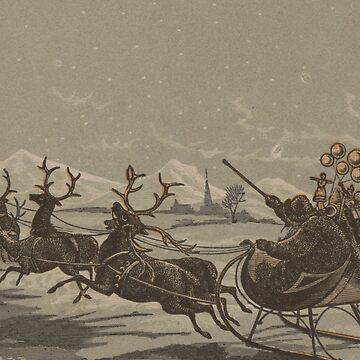 Vintage Santa and His Reindeer Illustration (1880) by BravuraMedia