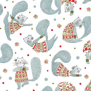 Pattern #99 - Yoga cats with knitted Fair Isle cardigans by IreneSilvino
