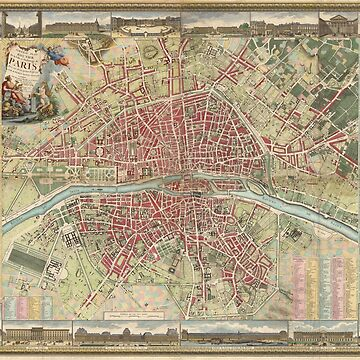 Vintage Map of Paris France (1784) by BravuraMedia