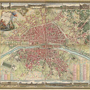 Vintage Map of Paris France (1784) by BravuraMedia