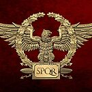 Gold Roman Imperial Eagle - SPQR Special Edition over Red Velvet by Serge Averbukh