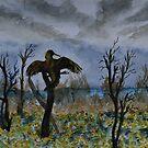 Anhinga Pose and Wildflowers  by Warren  Thompson