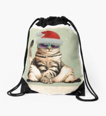 Distressed Funny vintage photo cat wearing a Christmas hat Drawstring Bag