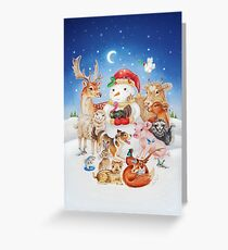 20 Christmas animals by Maria Tiqwah Greeting Card