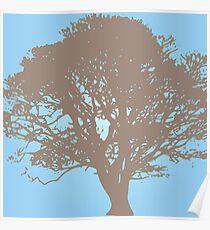 Oak Tree - Pastel blue Poster