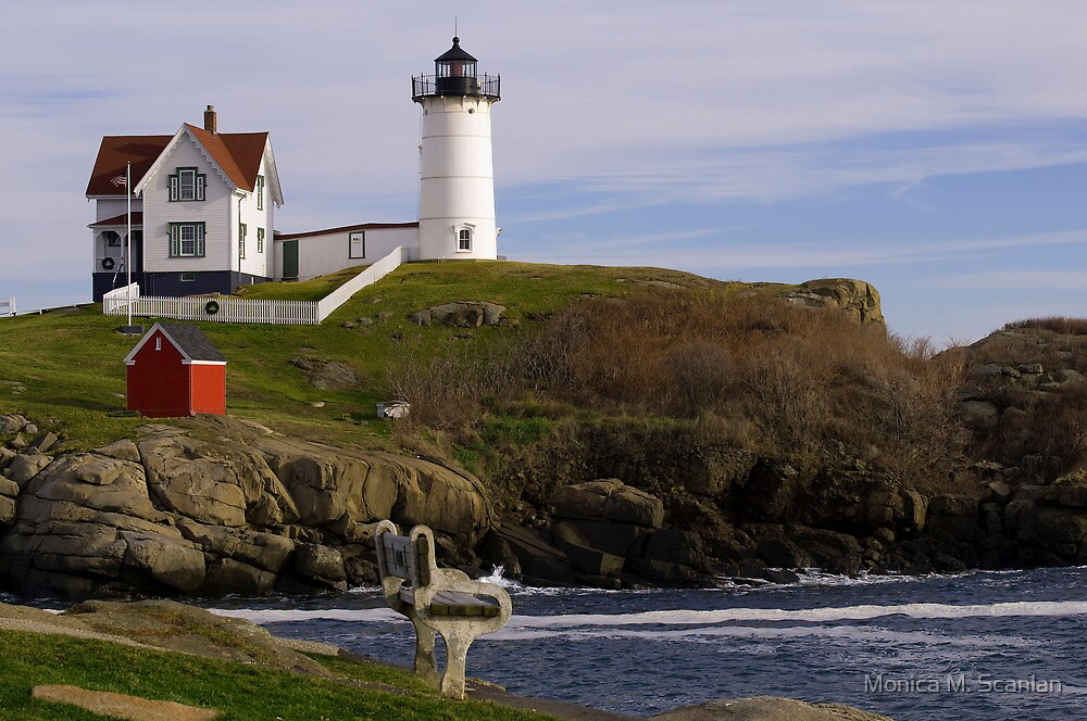 Sit and Enjoy the Beauty of Nubble Lighthouse by Monica M. Scanlan