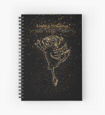 Girl skating golden ornament Gold Spiral Notebook