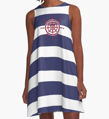 AFE Nautical Red Helm Wheel A-Line Dress