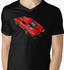 1963 Corvette Split Window Fastback Red Mens V-Neck T-Shirt