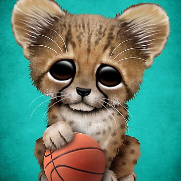 Cheetah Cub Playing With Basketball  by JeffBartels