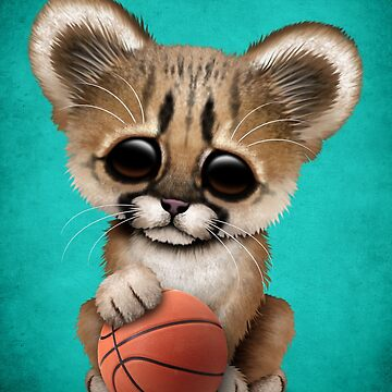 Cougar Cub Playing With Basketball by JeffBartels