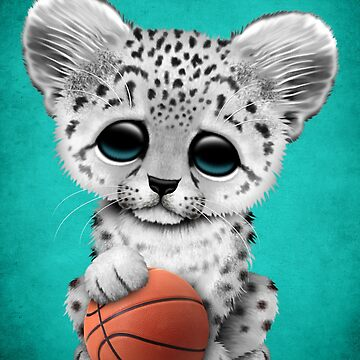 Snow Leopard Cub Playing With Basketball by JeffBartels