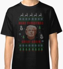 Make Christmas Great Again - Trump - Knitted Christmas Sweater Design Classic T-Shirt