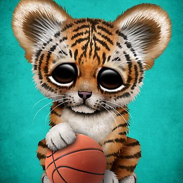Tiger Cub Playing With Basketball by JeffBartels