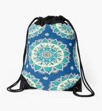 Blue & Cream Mandala  Drawstring Bag
