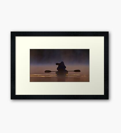 Photographing loons in the fog Framed Print