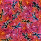 Dragonfly Dance Hot Fuchsia by lyndseyart