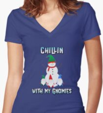 Snowman Chillin with My Gnomies - Funny Christmas Shirt Women's Fitted V-Neck T-Shirt