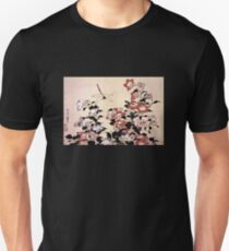 'Chinese Bell Flower and Dragonfly' by Katsushika Hokusai (Reproduction) Unisex T-Shirt